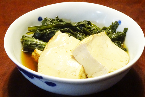 春菊と焼豆腐の煮びたし